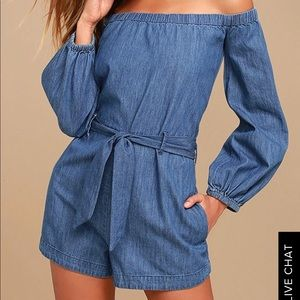Free People Blue Chambray Romper